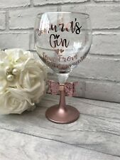 Personalised Gin Glass. Rose Gold. Christmas, Birthday, Wedding Hen Do. Balloon