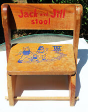 Vintage Child's Jack and Jill Stool Folding Chair Wooden Bench Rare