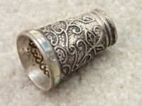 Large Vintage Silver Thimble with Abalone Trim Hecho En Mexico