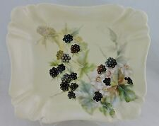 ANTIQUE LIMOGES PLATTER TRAY HAND PAINTED BLACKBERRY & FLOWERS SCALLOPED,GOLD