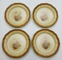 """Mikasa 8"""" Salad Plate SET OF 4 Whole Wheat Granola Pattern E8001 Stoneware"""