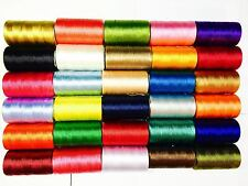 30 Spools Sewing Machine Silk Art Embroidery Threads Brother Singer Top Colours