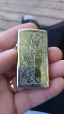 1976 Zippo lighter slim hp chrome Venetian pattern  used condition no box
