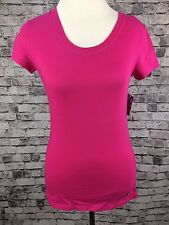New Womens Dactra Performance Wear Tee T-Shirt ~ Pink Scoop Neck Short Slv Small
