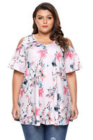 Blush Pink Rose Watercolor Floral Print Slinky Cold Shoulder Plus Top Size 16-22