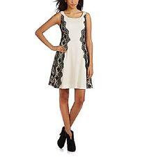 Jessica Simpson Dress Sz 6 Vanilla Black Lace Sides A-Line Cocktail Party Dress