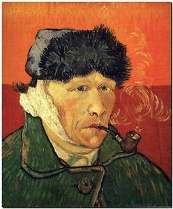 """Vincent Van Gogh *FRAMED* CANVAS ART red Self Portrait Bandaged Ear 24x16"""""""