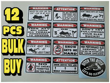 FUNNY WARNING SNOWMOBILE SLED STICKERS SNO X RACING SNOW TRAIL SKI STUD 12PC GR2