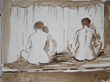 """""""Femme nue au hammam"""" Peinture signée de Robert SAVARY"""