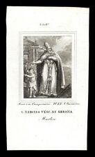 santino incisione 1800 S.NARCISO V. DI GERONA