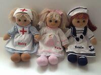 Beautiful Personalised Rag Doll. 40cm. Nurse, Sailor or Angel. Great Gift