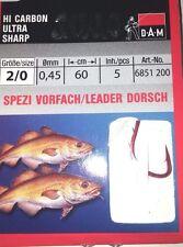 DAM Sumo Spezi Vorfach Dorsch Gr. 2/0  5Stück Haken Angelhaken leader hook fish