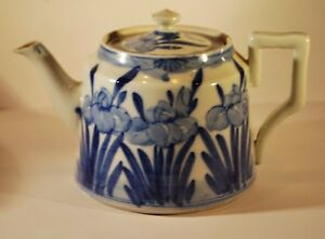 Antique Blue and White Teapot  with Flow Blue Iris Detail -  A/F    #7001