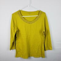 Coldwater Creek Womens Top Size S Green V Neck 3/4 Sleeves Shirt Embellished