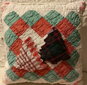 NEW Handmade Christmas Trees Pillow Vintage Quilt Chenille Bedspread  Cute!