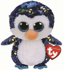 Ty Beanie Babies 36264 Flippables Regular Payton the Blue Penguin Sequin