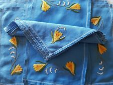 Vintage Set Of Pretty Blue Linen Hand Embroidered Napkins, Place & Tray Cloths