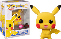 Pikachu Flocked Pokemon Funko Pop Vinyl New in Mint Box + Protector