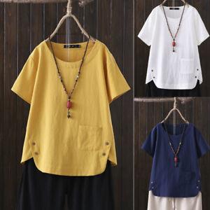 Summer Womens Cotton Linen Blouse Tops Ladies Loose Short Sleeve Pocket T Shirt