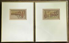 Vtg Harris Strong Abstract Tree Ceramic Tile Wall Hangings MCM Cedar I and II