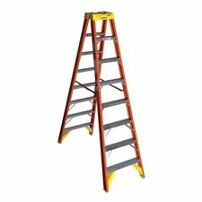 T6208 Werner Twin Double Sided Stepladder Fiberglass 8ft 300 lb Capacity Type IA