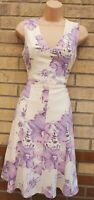 G21 WHITE LILAC FAIRY FLORAL V NECK SLEEVELESS A LINE SKATER MIDI TEA DRESS 10 S