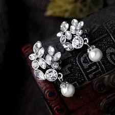 Boucles d`Oreilles Clips Argenté Pendant Perle Blanc Cristal Retro Mariage J2