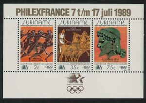 Suriname 'PHILEXFRANCE' Ovpt on Olympic Games MS 1989 MNH SG#MS1420 CV£8.50