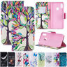 For Huawei Y6 Pro Y7 2019 Y5 2018 Painting Leather Wallet Flip Stand Case Cover