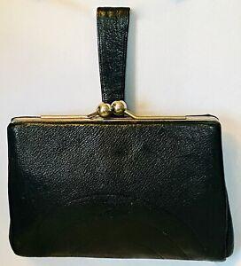 VINTAGE 1930s -1940s LEATHER CLUTCH BAG FABULOUS ART DECO