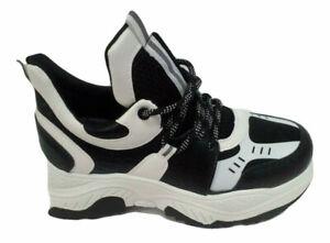 Plateau Sneaker Turnschuhe Laufschuhe Outdoor Boots Schwarz  Weiss Gr 38