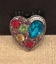 Heart Blue Red Snap Button Chunk Interchangeable 20mm for Snap Jewelry NEW!