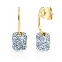 14k Yellow White Gold Diamond Dog Tag Drop Earrings Round Pave Natural 0.34 CT