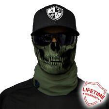 MOTORCYCLE FACE MASK - ARMY GREEN SKULL - (Moto, Hunting, Fishing, Paintball)