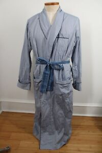 Brooks Brothers L Blue Oxford Cotton Lightweight Belted Robe Wrinkle Resistant