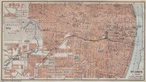 ST. LOUIS antique town city plan. Missouri. BAEDEKER 1909 old map
