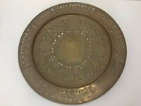 """Vintage Large  Chinese Brass Round Pierced Engraved Charger, 18 3/4"""" Diameter"""