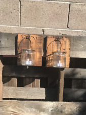 Set 2 Reclaimed Wood Jar Wall Sconces Rustic Pallet Barn Country Wedding
