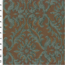 Gray/Brown Chenille Damask Home Decorating Fabric, Fabric By The Yard