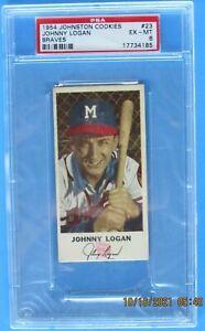 1954 JOHNSTON COOKIES MILWAUKEE BRAVES #23 JOHNNY LOGAN PSA GRADED 6 EX-MT
