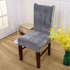 Stretch Grey Fox Velvet Fabric Home Hotel Dining Chair Wedding Chair Seat Covers