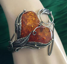 Vintage  Bracelet 2 Drops Buds Baltic Honey Amber Sterling Silver 925 34 Grams