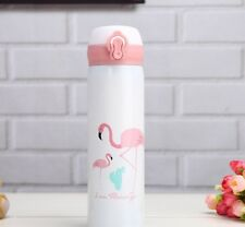 Flamingo thermos drinking flask drink container water bottle cup mug gift 500