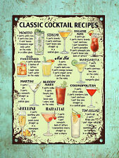 Metal plaque vintage retro style classic Cocktail recipes tin wall den bar sign
