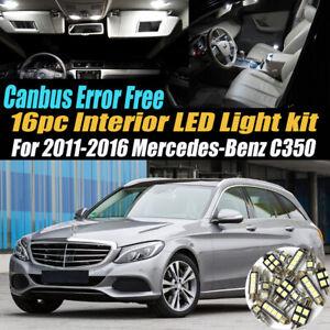 16Pc Error Free White Interior LED Light Kit for 2011-2016 Mercedes-Benz C350
