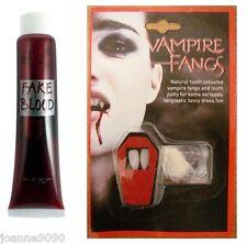 VAMPIRE DRACULA FANGS CAPS TEETH ADHESIVE FANCY DRESS FAKE BLOOD HALLOWEEN SET