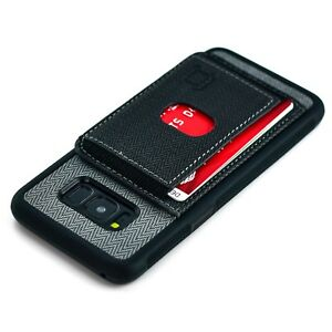 Galaxy S8 TPU Bumper Case Multiple Card Wallet Flap Kickstand, Dockem Black/Grey