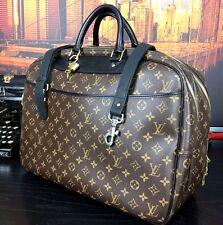 "LOUIS VUITTON Auth 18"" Duffle Black Leather Canvas Carryall Briefcase Bag Mens"