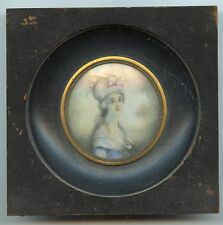 Excellent Early 1800´s Portrait Miniature Beautiful Young Lady Watercolor