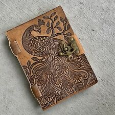 Handmade Brown Leather Journal with lock Dancing Peacock Vintage rugged Diary